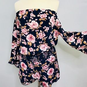 Lauren Conrad 2 Piece Floral Top/Short Set Small